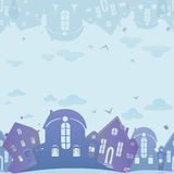 Seamless texture of real estate. Blue background with houses. Seamless pattern of real estate. Blue background with houses. Night sky city. Vector illustration Stock Image