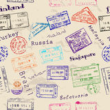 Seamless texture with real visa stamps. Stock Image
