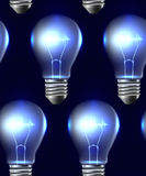 Seamless texture with realistic light bulbs in a row Royalty Free Stock Photography