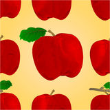 Seamless texture of a red apple with a leaf vector Royalty Free Stock Photos
