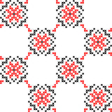 Seamless texture with red and black abstract flowers. Seamless texture with red and black abstract patterns for tablecloth.Embroidery.Cross stitch Royalty Free Stock Photo