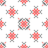 Seamless texture with red and black abstract flowers. Seamless texture with red and black abstract patterns for tablecloth. Embroidery. Cross stitch Stock Photo