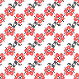 Seamless texture with red and black abstract flowers Royalty Free Stock Photo