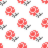 Seamless texture with red and black abstract flowers. Seamless texture with red and black flowers for tablecloth. Roses. Embroidery. Cross stitch Stock Photos