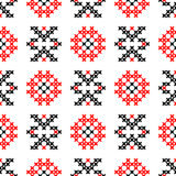 Seamless texture with red and black abstract patterns. For tablecloth.Embroidery.Cross stitch stock illustration