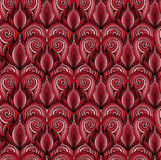 Seamless texture with red doodle hearts with the hair pattern Stock Photos