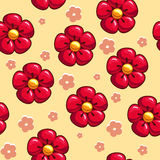 Seamless texture with red flowers. Seamless texture with cartoon red flowers Stock Image