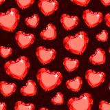 Seamless texture with red hearts. In the form of diamonds Royalty Free Stock Photos