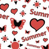 Seamless texture red summer. Seamless texture summer silhouettes with the sun and butterflies Stock Photos