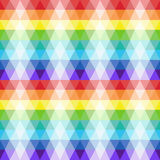 Seamless texture of repeating transparent triangle shapes in bright colors. Rainbow pattern. Vector illustration Royalty Free Stock Photo