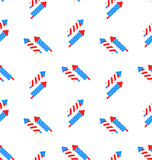 Seamless Texture Rocket for Independence Day. Illustration Seamless Texture Rocket for Independence Day of America, US National Colors - Vector Stock Photos