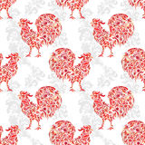 Seamless texture with rooster- symbol of 2017 fire cock. Suitable for design: cloth, web, wallpaper, wrapping. Vector Royalty Free Stock Photography