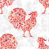 Seamless texture with rooster- symbol of 2017 fire cock. Suitable for design: cloth, web, wallpaper, wrapping. Vector Stock Images