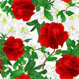 Seamless texture rose flower red twig with leaves and bud and white rhododendrons nature background vintage vector editable illus vector illustration
