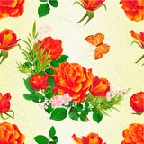 Seamless texture    Roses orange  and butterfly vintage  festive  back Stock Photo