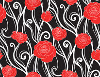 Seamless texture with roses and vines on a dark background Royalty Free Stock Image
