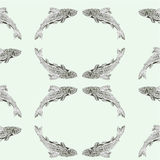 Seamless  texture salmon vintage engraving  vector Royalty Free Stock Images