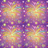 Seamless texture with saluts or fireworks. Seamless texture with colorful saluts or fireworks on violet backgroud Royalty Free Stock Image