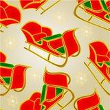 Seamless texture Santa sleigh and snowflakes vintage vector Stock Photography