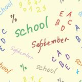 Seamless texture with school inscriptions Stock Photo
