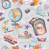 Seamless texture on a school theme with the image of a backpack, globe, paint and other items vector illustration