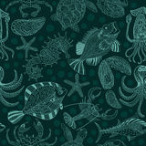 Seamless texture of a seafood on a dark green background. Stock Photo