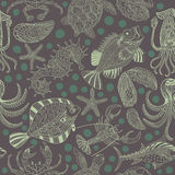 Seamless texture of a seafood. Vector background with a sketchy Stock Photo