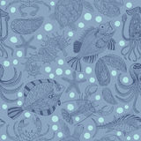 Seamless texture of a seafood. Vector background. Royalty Free Stock Photography