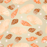 Seamless texture seashells and pearls vector Royalty Free Stock Images
