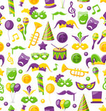 Seamless Texture with Set Carnival and Mardi Gras Icons and Objects Royalty Free Stock Image