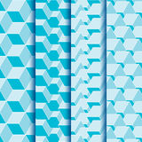 Seamless texture set of geometric square shapes. In blue Royalty Free Illustration