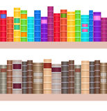Seamless texture shelves with a variety of books. Rainbow Books. Vector element for your creativity Stock Images