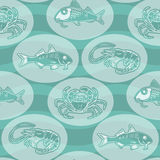 Seamless texture with silhouette fish, crab, shrimp  and  wave. Seamless texture with silhouette fish, crab, shrimp  and  wave  on  aquamarine background Stock Images