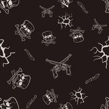 Seamless texture of sketches of skulls and pistols Stock Images