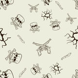 Seamless texture of sketches of skulls and pistols Royalty Free Stock Photos