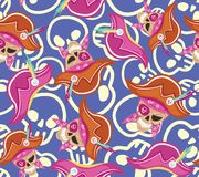 Seamless texture with skull and pink pirate hat. EPS 8 Royalty Free Stock Photo