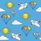 Seamless texture the sky with airplanes and parachutes Stock Photography