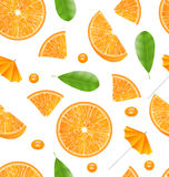 Seamless Texture with Slices of Oranges Royalty Free Stock Photography