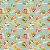 Seamless texture with slices of pizza Stock Images