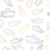 Seamless texture with sneakers 2 Royalty Free Stock Photography