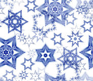 Seamless texture with snowflake fractal ornaments in dark blue and white glitter Royalty Free Stock Photo