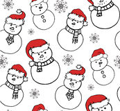 Seamless texture with a snowman in festive hats. Vector Christmas pattern for wrapping paper, wallpaper, fabric and your design Royalty Free Stock Images