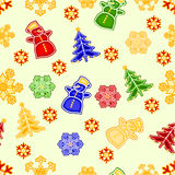 Seamless texture snowman and snowflake Christmas decorations vector illustration. Seamless texture snowman and snowflake and christmas tree Christmas decorations royalty free illustration