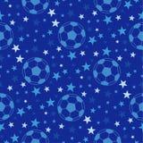Seamless texture - soccer ball among the stars. Football  Royalty Free Stock Image