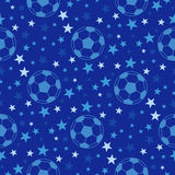 Seamless texture - soccer ball among the stars. Football vector background Royalty Free Stock Images