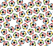 Seamless texture of soccer balls and united hands Stock Photography