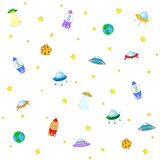 Seamless texture with space rocket, ufo, earth and moon. Vector Stock Image