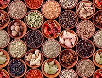 Seamless texture of spices on black Royalty Free Stock Images