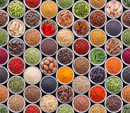 Seamless texture with spices and herbs Stock Image