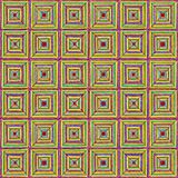 Seamless texture. Squares of different sizes, the effect of perspective. Pink, yellow, green, blue, magenta. Hand-drawn squares with perspective effect create an royalty free illustration